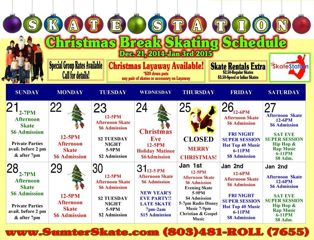 Christmas Break 2014 Calandar
