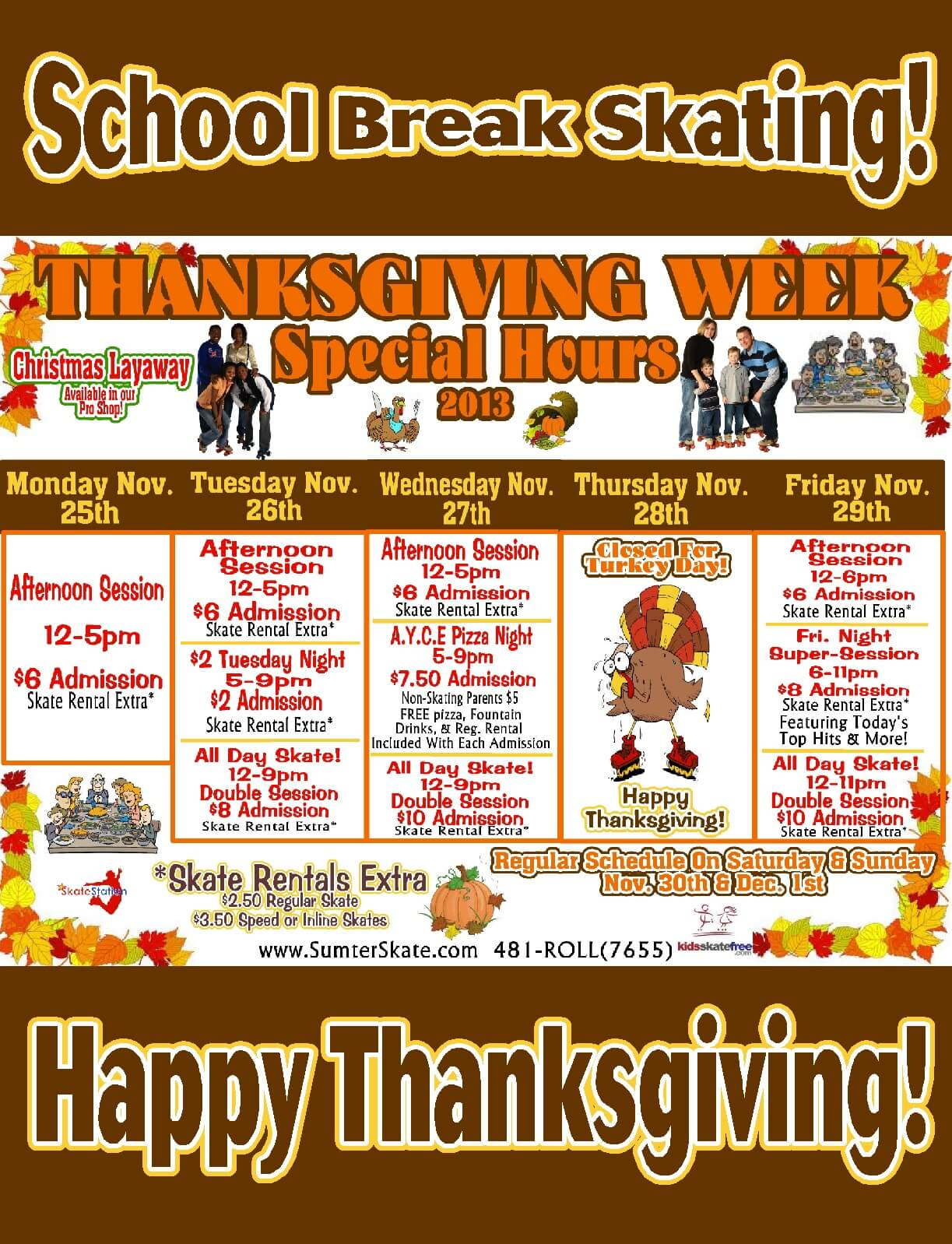 Thanksgiving Schedule 2013 website