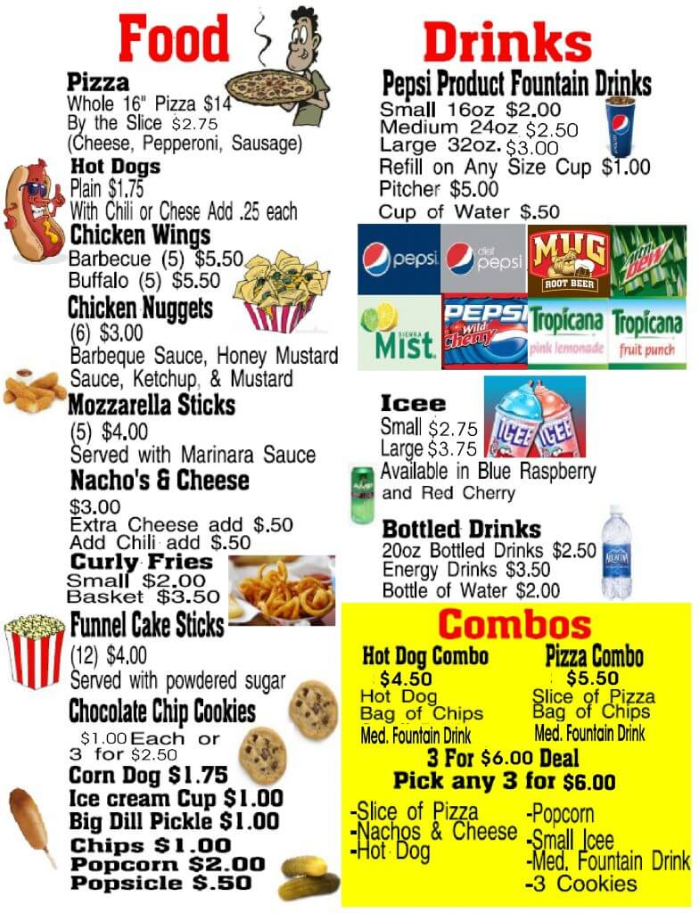 snack bar menu inside July 2016