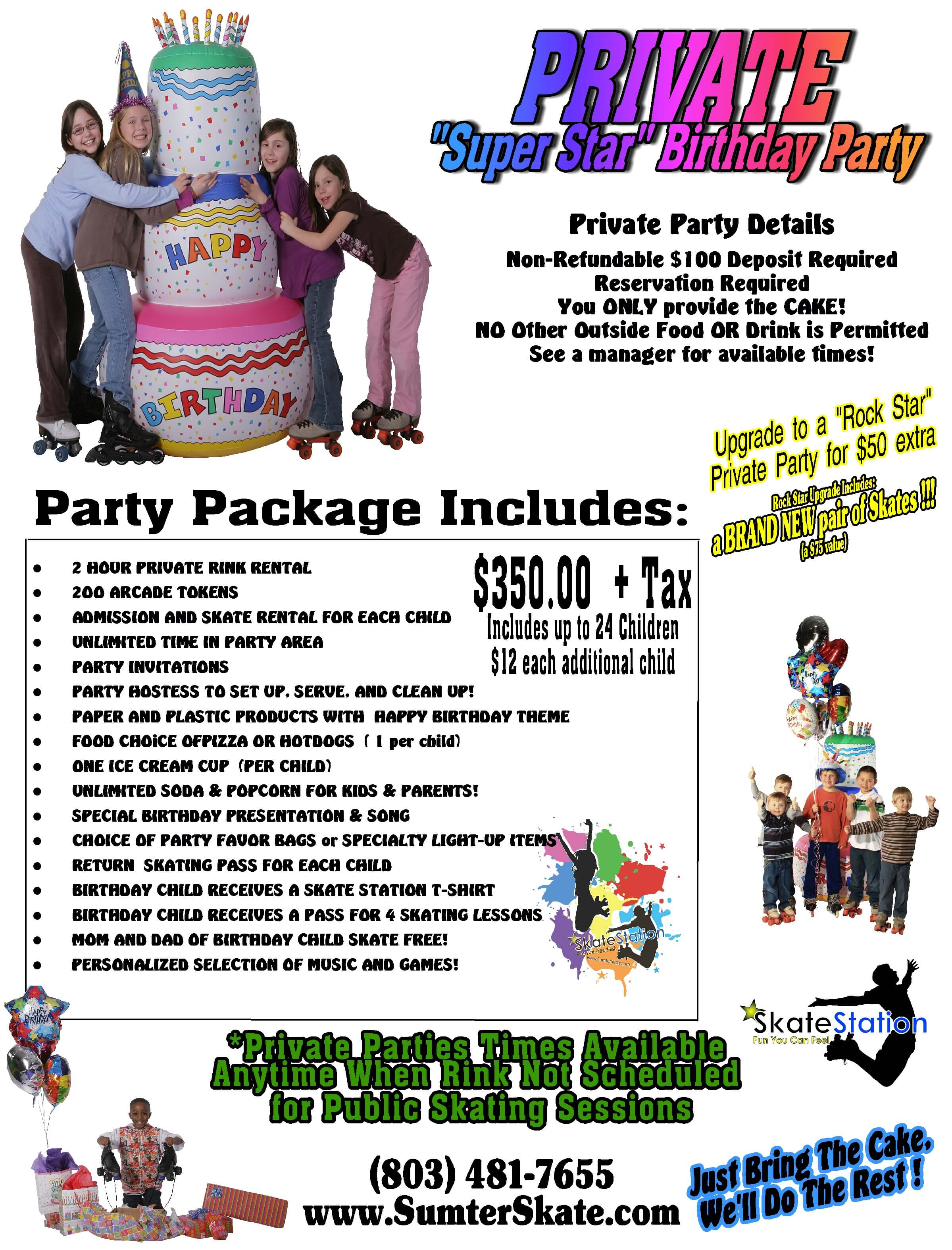 """Private """"Super Star"""" Birthday Party Package at Skate Station"""
